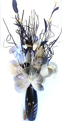 Free 30cm nero inciso in legno vaso con netlon composizione floreale di fiori organico fatto a mano indiano e erbe secche. . circa 80cm di altezza. free 20luci led che richiede 3batterie aa non incluse.