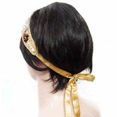 Perlé Ruban Cheveux Bandeau Accessoire De Mode Bande Inde Cadeau De Bijoux Pour Elle beige
