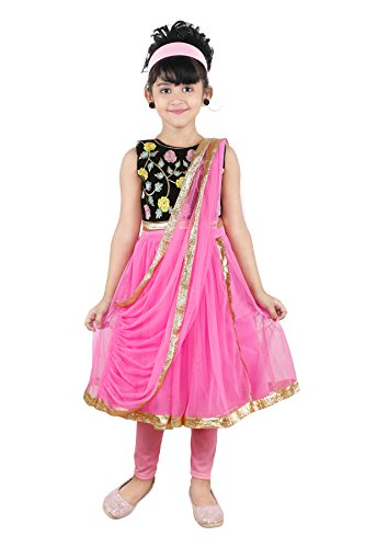 JBN Creation Girls Pink Kurti And Leggings Set With Floral Embroidery On...
