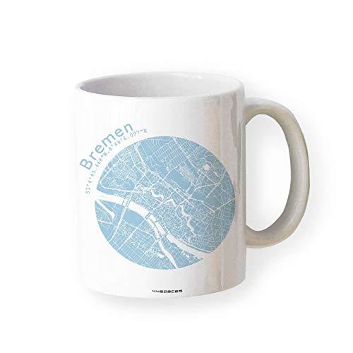 Tasse BREMEN Stadtplan Tasse Karte Landkarte in 5 Farben, hochwertiger Becher Kaffeebecher Kaffeetasse, Geschenk Fans Liebhaber Arbeit Büro Chef, Schenken Souvenir Andenken Gelegenheiten
