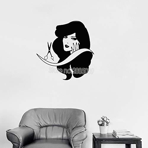 Friseursalon Shop Wandtattoo Art Vinyl Abnehmbare Beauty Salon Stylist Hübsche Frau Aufkleber Mädchen Zimmer Neue Dekor Wandbild Poster LL 84 cm x 87 cm -