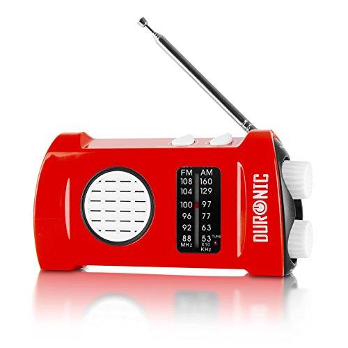 Duronic Ecohand Dynamo Radio AM/FM, wiederaufladbar – Kurbelradio - mit integrierter LED Taschenlampe, Handkurbel/Outdoor/Camping/Wandern