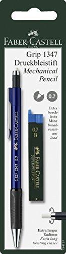 0.7 (Faber-Castell 134797 - Druckbleistift GRIP inklusive 12 Minen, Härtegrad: B, Minenstärke: 0,7 mm, Schaftfarbe, farblich sortiert (keine Farbauswahl möglich))