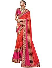 Magneitta Women's Silk Embroidered Saree With Blouse Piece - 97007_Orange And Pink_Free Size