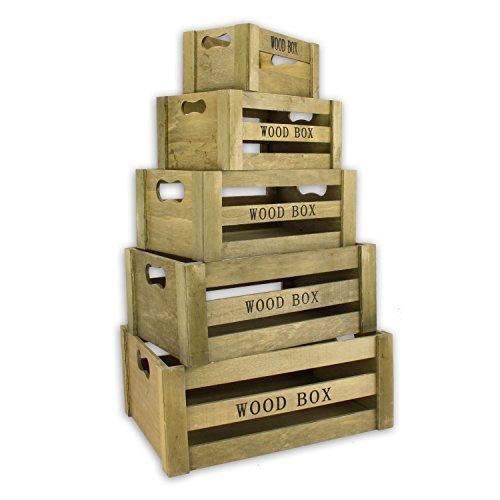 """Aufbewahrungsbox \""""Vintage\"""" Holzkisten 5er Set braun Holzboxen Holzkiste Holzbox Dekokiste Kiste Deko Weinkiste Box Kisten Boxen Aufbewahrung Regal"""