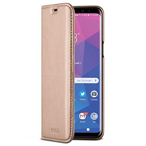 CASEZA Galaxy S9 Flip Case Rose Gold Oslo Ultra Schlanke PU Leder Hülle Ledertasche Lederhülle für Das Original Samsung Galaxy S 9 (5,8 Zoll) - Edles Kunstleder Cover mit Magnetverschluss