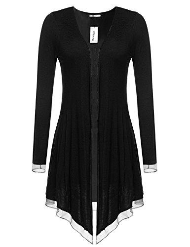 Meaneor Damen Strickjacke Casual Cardigan Jacke Asymmetrisch Offener V-Ausschnitt Longshirt Mit Chiffonabschlüssen Oberteil Übergröße  Größe:  EU 38(Herstellergröße: M),  Farbe: Schwarz