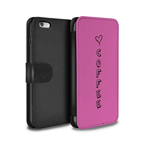 Stuff4 Coque/Etui/Housse Cuir PU Case/Cover pour Apple iPhone 6S+/Plus / Bleu/Amour du Vin Design / Coeur XOXO Collection Rose/Amour Café