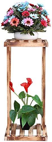 Cxhmyc supporto per fiori in legno vintage, ripiano per piante grigliato in carbonio/tronchi soggiorno camera da letto balcone giardino 27 * 27 * 71 cm mensola portavasi (colore: a)