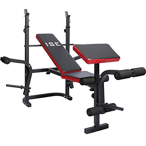 ISE Banc de Musculation Multifonction Réglable Pliable Inclinable Fitness Pour Entrainement Complet SY5430B