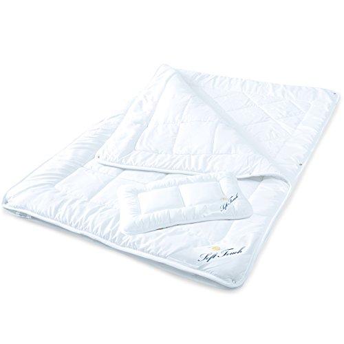 Kinder 4-Jahreszeiten-Bettdecke, 100 x 135 cm Mikrofaser Baby-Steppdecke im Set mit 1x Kopfkissen 40 x 60 cm weiß aqua-textil Soft Touch Kids Decke 1000489