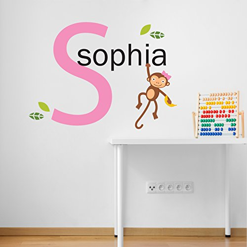 Personalised Name with Initial Jungle Cheeky Monkey Children's Room Kids Room Baby Nursery Playroom Wall Sticker Decal Mural Vinyl Transfer Wall Art Girls Room by V&C Designs Ltd (Cute Monkey Tattoos)