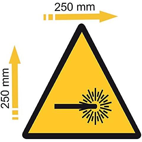Adesivo in polimero plastificato raggi UV pericolo radiazioni laser
