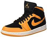 NIKE Herren Air Jordan 1 Mid Basketballschuhe, Schwarz (Black/Orange Peel/Sail 081), 45.5 EU