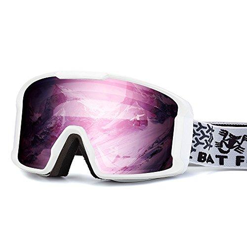 BATFOX Skibrille Snowboard brillenträger Brille Doppel-Objektiv UV-Schutz Anti-Fog Skibrille Für Damen Und Herren Jungen Und Mädchen Kinder Skifahren Skibrillen Verspiegelt (rosa weiß)