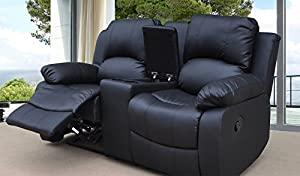 Lovesofas Valencia 2 seater bonded leather recliner sofa with drinks console - Black by Love Sofas