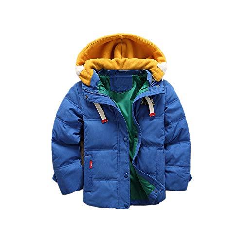 Heguowei Kinder Baby Winter Kapuzenpullover Mit Kapuze Warm Gepolstert Daunenjacke (Color : Blau)