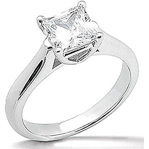 E VVS1 Anello solitario con diamante 1 CT, taglio principessa, colore: oro