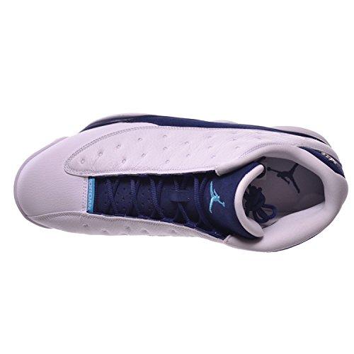 Nike Air Jordan 13 Retro Low, Chaussures de Sport-Basketball Homme wht/mtllc slvr-mdnght nvy-tros