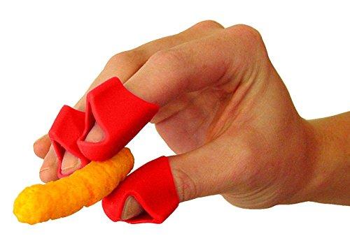 BananaB Finger Covers for Cheesy, Greasy, Sticky Fingers – Finger Food Utensil – Kitchen Prep Finger Guard (3ct Red) (Prep-manuelle)