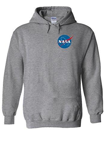 Nasa National Space Packet Pocket America Sports Grey Men Women Unisex Hooded Sweatshirt Hoodie-L -