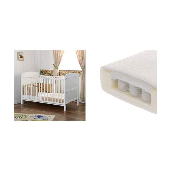 Obaby Grace Cot Bed and Dual Core Breathable Mattress - White Obaby Stylish and contemporary design that fits in with any nursery Adjustable 3 position mattress height, bed ends split to transforms into toddler bed Protective teething rails along both side rails, suitable from birth to approximately 4 years 1