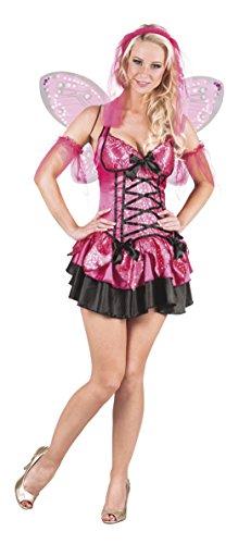erdbeerloft - Damen Kostüm als Fee - Minikleid- Schmetterling, Rosa, Größe M (Fee Rosa Kostüm)