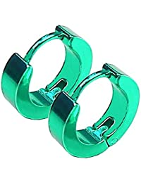 2 pequeños pendientes de aro huggie con cierre hoop verde