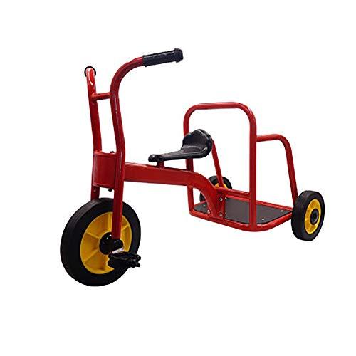 SHARESUN Mein Fahrer Chariot Tandem Bike für Kinder, Kinder Dreirad-Retro-Design-Gummi Trike-Chrom vorne Fender-Deck-Step Bike,Red