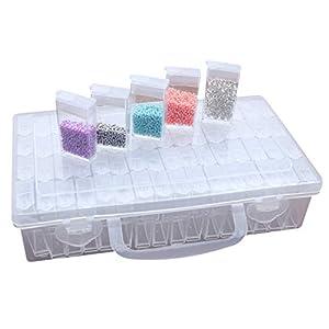 64 Fächer Kunststoff Dosen, Diamant Stickerei Sortierbox in Stabiler Aufbewahrungbox Werkzeugbehälter Schmuck Organizer…