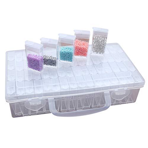 64 Fächer Kunststoff Dosen, Diamant Stickerei Sortierbox in Stabiler Aufbewahrungbox Werkzeugbehälter Schmuck Organizer diamond painting box für Nägel, Strass, Perlen, DIY Handwerk - Kunststoff Medizin-flaschen