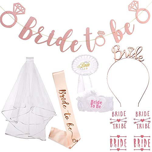 Fiyomet Bachelorette Party Dekorationen Kit Bridal Shower Supplies Braut Schärpe Banner Schleier Tiara Flash Tattoo Set Bein Kreis Abzeichen zu sein