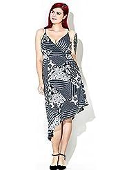 GWCSS Vestido De La Correa De Impresión Irregular De La Gasa De Gran Tamaño 4Xl , Grey , 4Xl