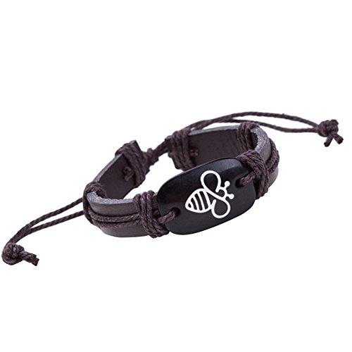 Qinlee Männer Leder Armband mit Mode Biene Muster Herren Weben Armban Damen Armbänder Männlich Schmuck Bracelet Einstellbar ()
