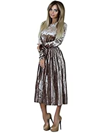 LILICAT Damen Kleid Lang Elegant Abendkleid Elegant Cocktailkleid Bodycon  Vintage Langarm Velvet Kleid Festlich… 58b98d2f98