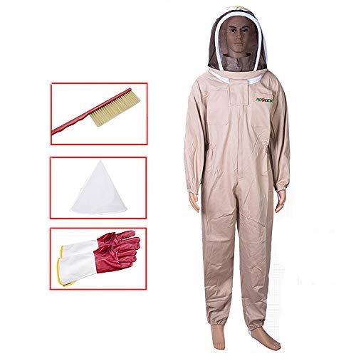 APENCHREN Imker-Anzug/Bienen Schutzbekleidung, Imkerbekleidung mit Schleier, Arbeitskleidung - für Imkerei, Bienenhaus, Bauernhof und Imker,Khaki-L