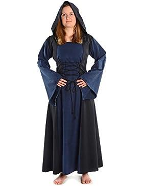 HEMAD Damen Mittelalter Kleid zum Schnüren mit Gugel weiß rot grün blau braun schwarz S - XL