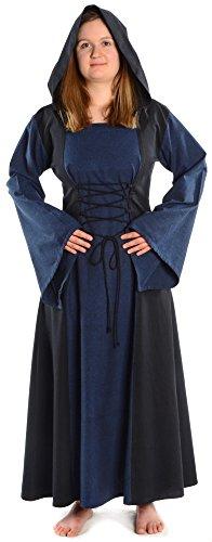 HEMAD Mittelalter Kleid zum Schnüren mit Gugel Damenkleid blau-schwarz (XL, schwarz-blau)