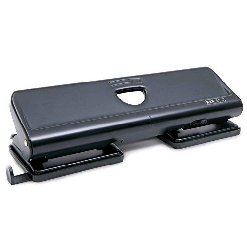 Rapesco 720 - Perforadora metalica de 4 agujeros, 20 hojas de capacidad, negra