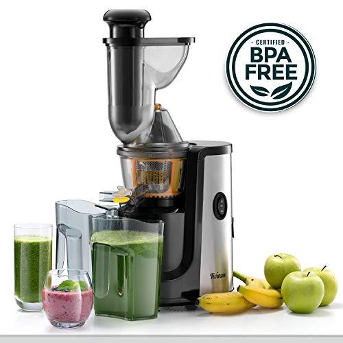 ⭐Slow Juicer Obst- und Gemüseentsafter, BPA-frei, Twinzee - 2 Siebe (Fein und grob) - Großer Einfüllschacht (75 mm), CE-Kennzeichnung, Leichte Reinigung dank Mitgelieferter Bürste