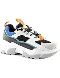 Scarpe Sneakers Suola Alta Donna Triple in Pelle PU Nere Bianche Multicolor  Estive Ultimi Arrivi Casual fd8ea8600b5