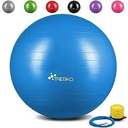 TRESKO® Pelota de gimnasia Anti-reventones 65 cm | Bola de Yoga y ejercicio | Balón para sentarse | 300 kg | con bomba de aire | Azul