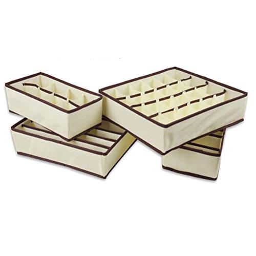 Amybria 4 Stück Langlebig Schubladeneinsätze Schrank Organisatoren Schubladen Faltbare Aufbewahrungsbox für BHs, Unterwäsche, Socken, Beige (Organisatoren X Schublade 7 8)