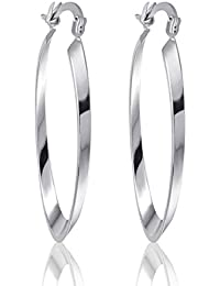GULICX 18k White Gold Plated Hoop Earrings Vintage Style Creole Womens Girls GF Dashing Snap Down q9TLHt5e