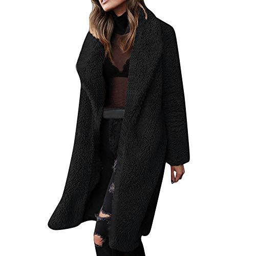 iHENGH Vorweihnachtliche Karnevalsaktion Damen Herbst Winter Bequem Mantel Lässig Mode Jacke Frauen Damen wärmen künstliche Wolle Mantel Jacke Revers Winter Oberbekleidung