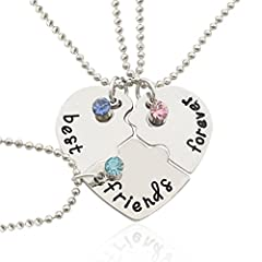 Idea Regalo - Collane Amici BESTOYARD 3 Collane Amicizie con pendenti lettere best friends forever con strss