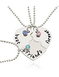 Best Friends Forever Necklace BESTOYARD Rhinestone Heart Pendant Engraved Puzzle Friendship Necklaces Set (Silver)