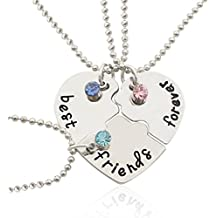 Tinksky Silver Tone Alloy Rhinestone Best Friends Forever Collar Engraved Puzzle Friendship Collares Colgantes Set Regalo de Navidad para amigos