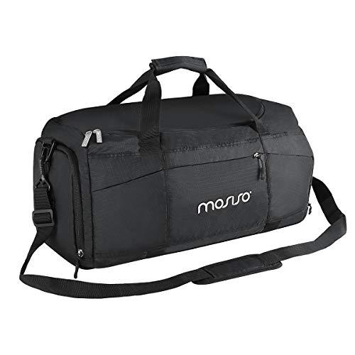 Mosiso 45l borsa da viaggio pieghevole da viaggio con attrezzatura organizzatore gear borsa da viaggio leggera da palestra leggera con vano scarponi e cintura posteriore per trolley, nero