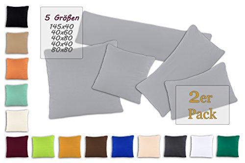SHC Kissenbezug Doppelpack 40x40 cm in silber / hellgrau als Deco Kissen Zierkissen Couchkissen Sofakissen oder Kopfkissenbezug mit Reißverschluss aus 100% Baumwolle